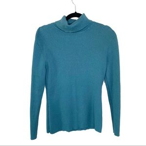 Leo & Nicole Turquoise Ribbed Turtleneck Sweater